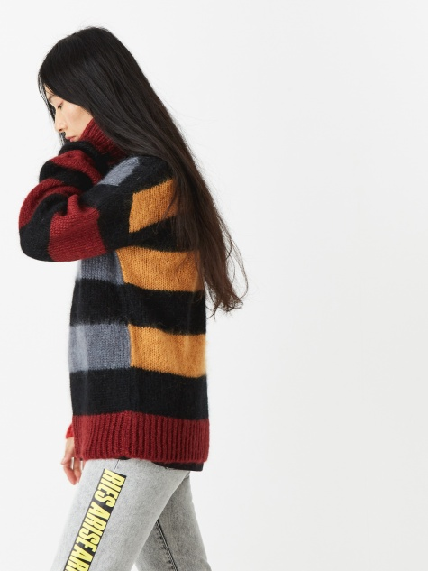Mohair Cropped Stripy Jumper - Sober