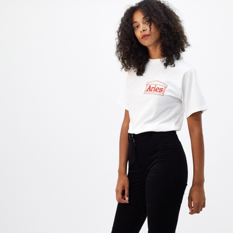Short Sleeve Cropped Temple Logo T-Shirt - White/Red