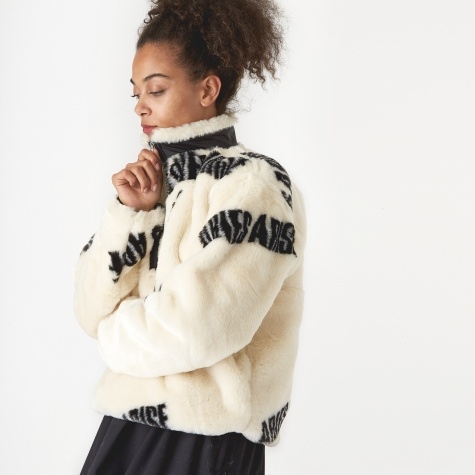 Furry Half Zip Jacket - Black On White