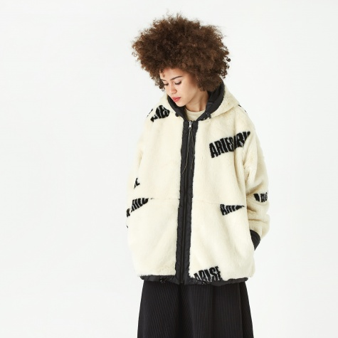 Reversible Faux Fur Hoody - Black/Black On White