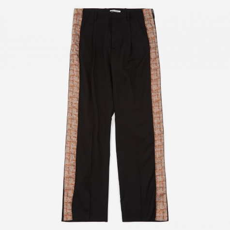 Accordion Pleated Tape Trouser - Black