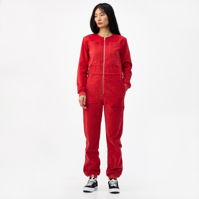 LF Markey Finlay Corduroy Boilersuit - Red (Image 1)