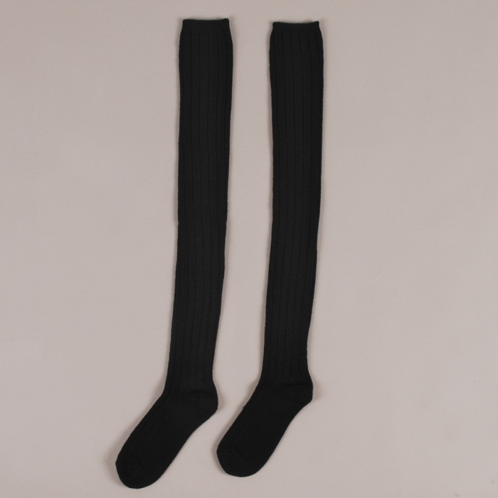 Hansel from Basel Chunky Rib Thigh High - Black (Image 1)