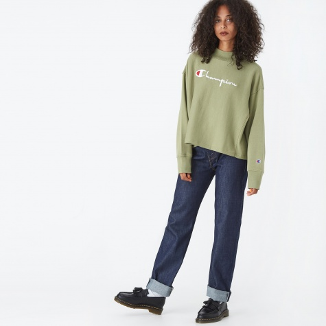 Super Maxi Mock Neck Crewneck Sweatshirt - Khaki