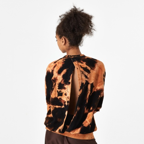 Open Back Tie Dye Sweatshirt - Tan