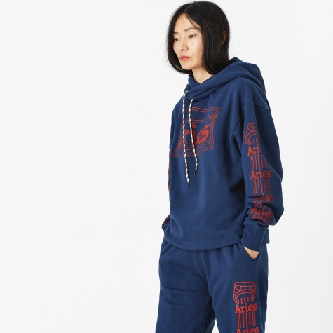 Column Hooded Sweatshirt - Navy