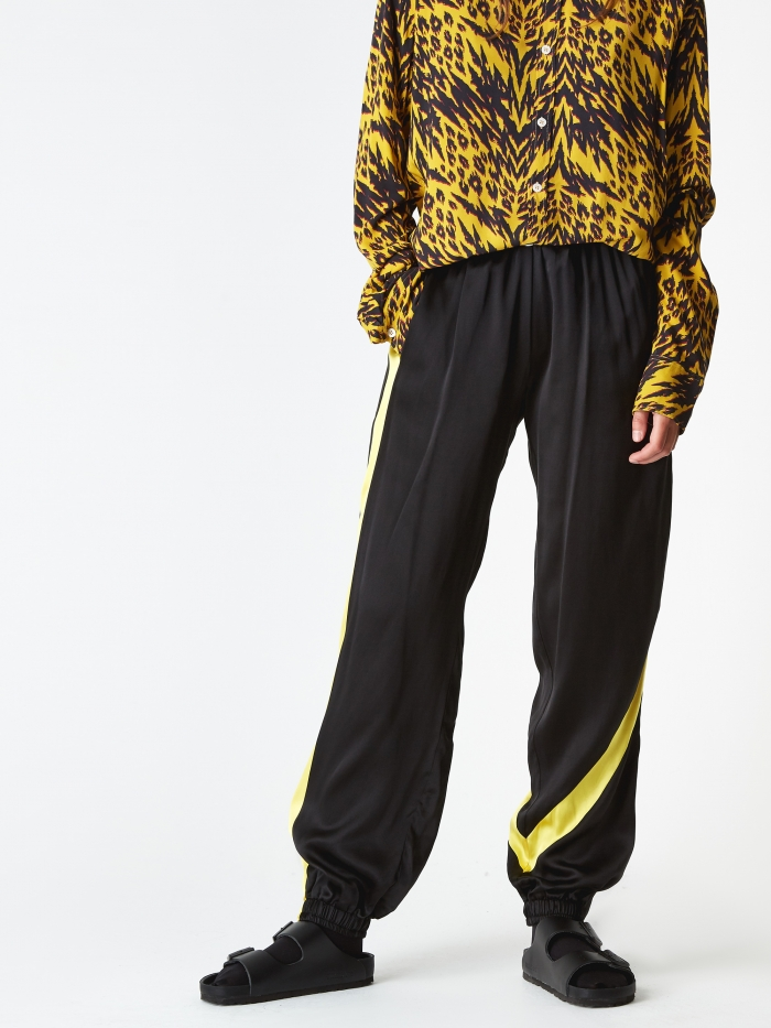 Aries Silk Arise Arise Track Pant - Black/Yellow/Logo (Image 1)