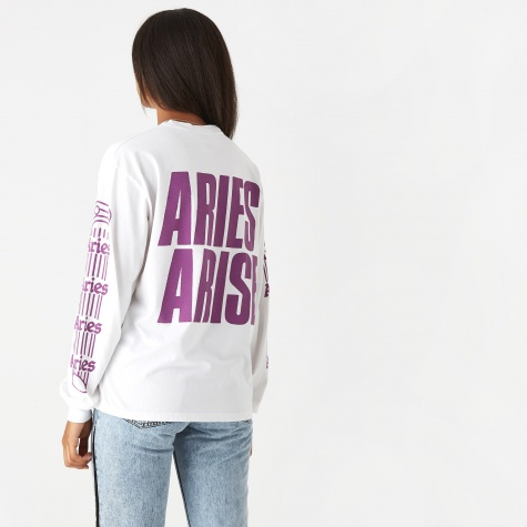 Graphic Long Sleeve Column T-Shirt - White/Purple