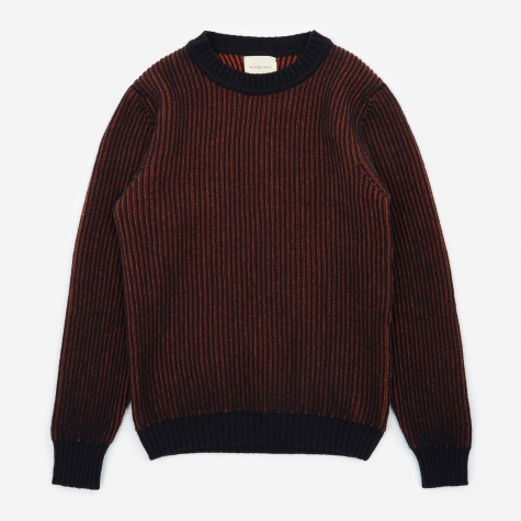 Knitted Crewneck Jumper - Navy/Tiger
