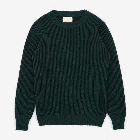 Knitted Crewneck Jumper - Navy/Green