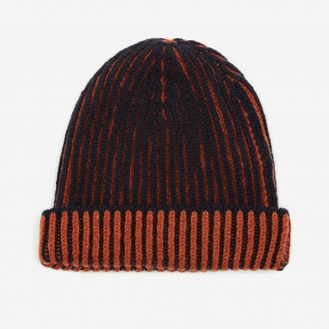 Knitted Beanie - Navy/Tiger