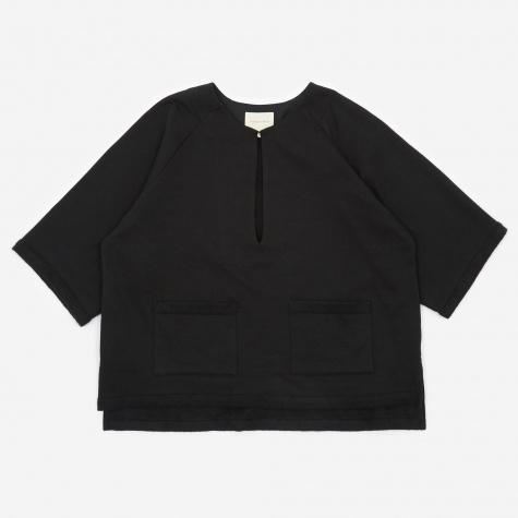 Front Slit Jersey Shirt - Black