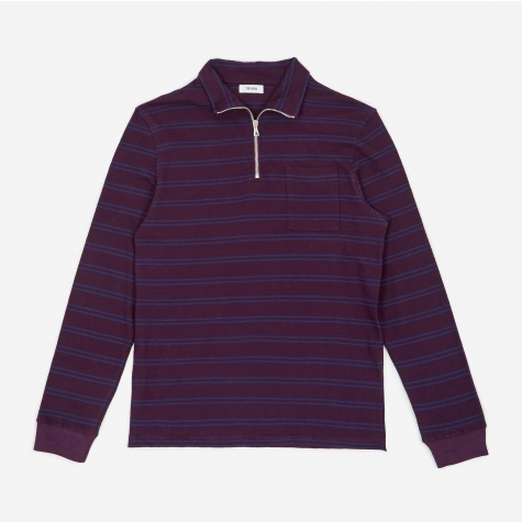 Tres Bien Striped Half Zip Sweatshirt - Plum/Navy