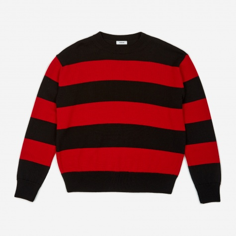Tres Bien Drop Shoulder Knitted Jumper - Black/Red