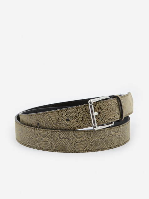 Tres Bien Snake Leather Belt - Beige