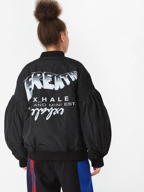 PAM Perks And Mini My Hands Become Exhale Rib Bomber Jacket - Bl