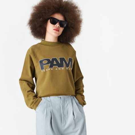 PAM Perks And Mini Logo Cropped Sweatshirt - Olive Drab