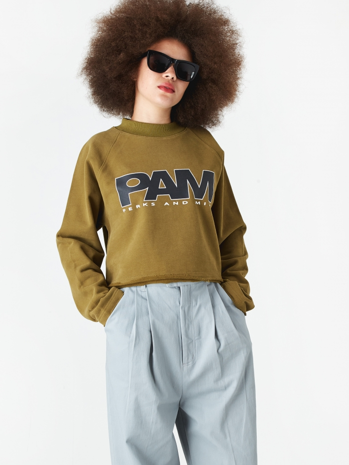 Perks & Mini PAM Perks And Mini Logo Cropped Sweatshirt - Olive Drab (Image 1)