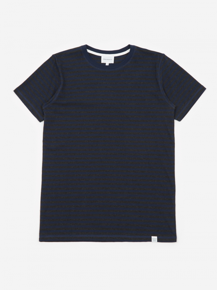 Norse Projects Niels Classic Stripe T-Shirt - Charcoal Melange (Image 1)