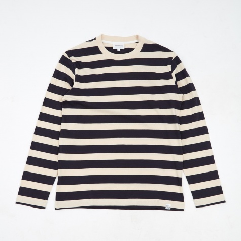 Johannes Rugby Stripe Long Sleeve T-Shirt - Navy