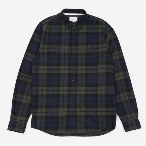 Anton Flannel Check Shirt - Black Watch Check