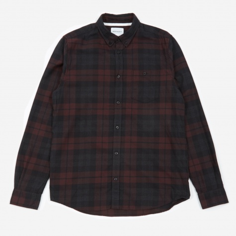 Anton Flannel Check Shirt - Eggplant Brown