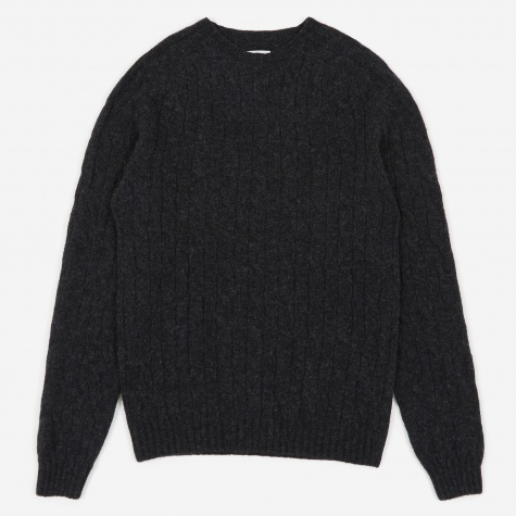 Birnir Cable Lambswool Jumper - Charcoal Melange