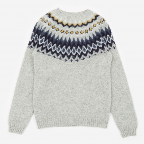 Birnir Fairisle Jumper - Light Grey Melange