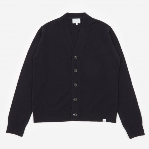 Adam Lambswool Cardigan - Dark Navy