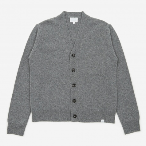 Adam Lambswool Cardigan - Light Grey Melange