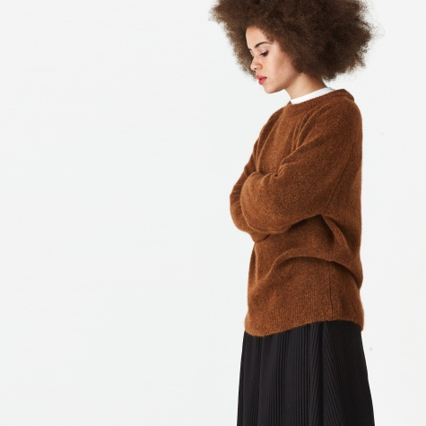 Ajo Brush Crew Neck Jumper - Burnt Sienna