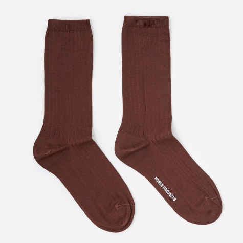Bennedikte Rib Socks - Burnt Sienna