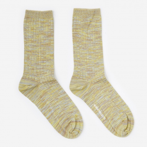 Bennedikte Blend Rib Socks - Forsythia Yellow