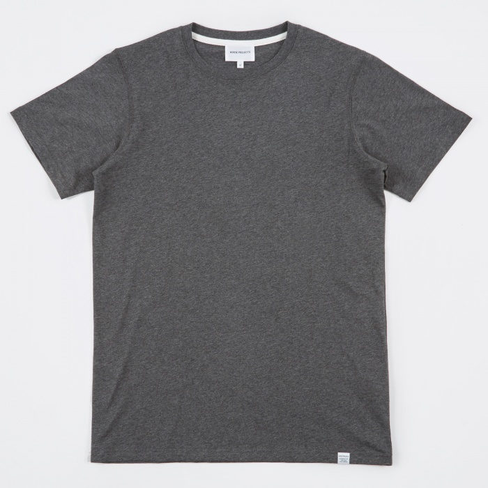 Norse Projects Niels Standard SS T-Shirt - Charcoal Melange (Image 1)