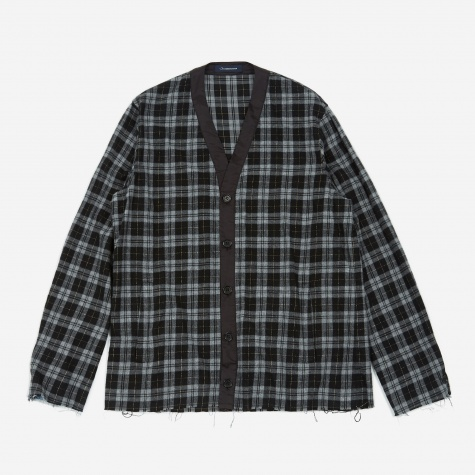 JohnUNDERCOVER Flannel Cardigan - Black Check