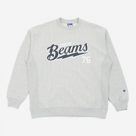 Reverse Weave x Beams Crewneck Sweatshirt - Grey