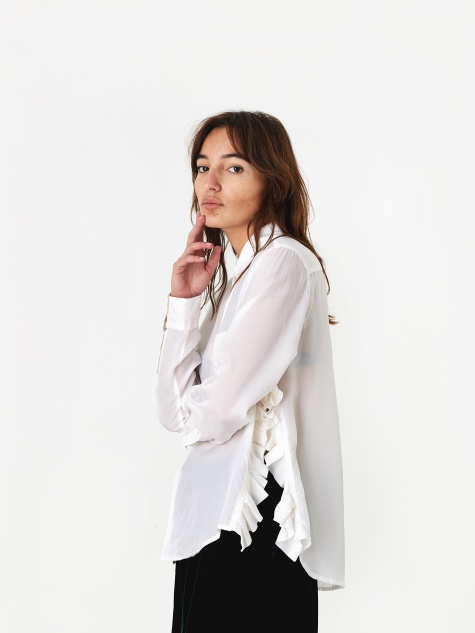 Ruffle Split Shirt - White