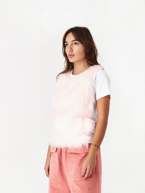 Faux Fur Front T-Shirt - White/Pink