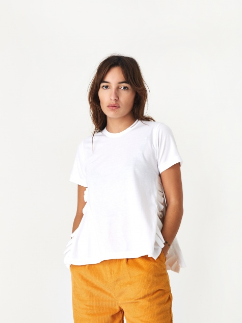 Ruffle Split T-Shirt - White