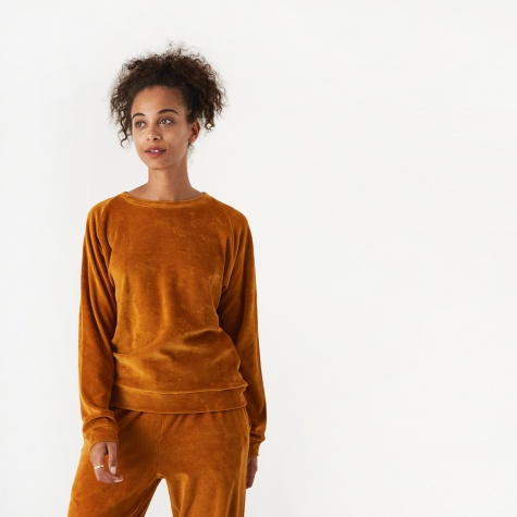 Basic Velour Sweatshirt - Theta Brown