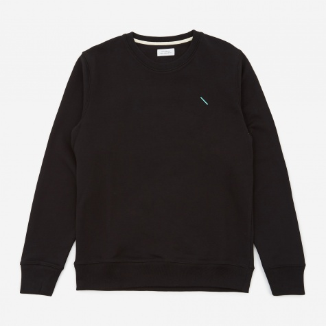Bowery Embroidered Chest Crewneck Sweatshirt - Bla