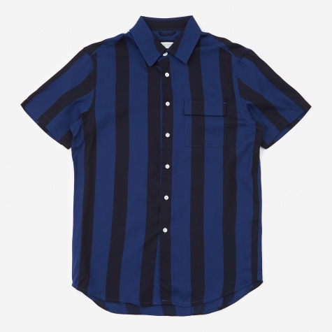 Nico Broad Stripe Short Sleeve Shirt - Cobalt
