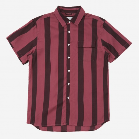Nico Broad Stripe Short Sleeve Shirt - Light Plum