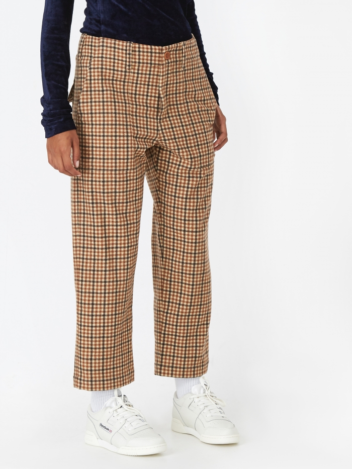 Jejia Camille Trouser - Brown Check (Image 1)