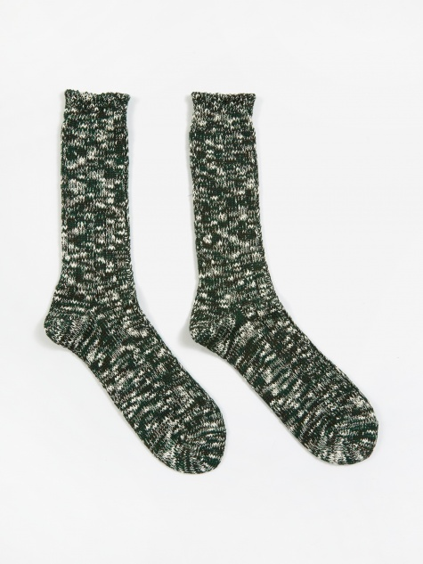 Slub Crew Sock - Moss Green