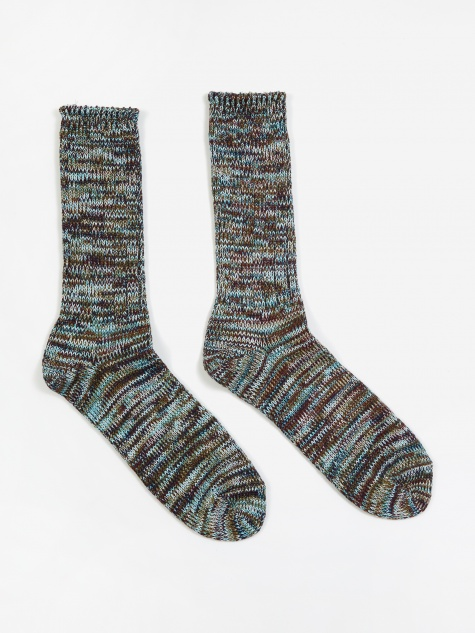 5 Colour Mix Crew Sock - Sax