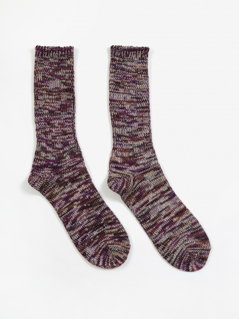 5 Colour Mix Crew Sock - Purple