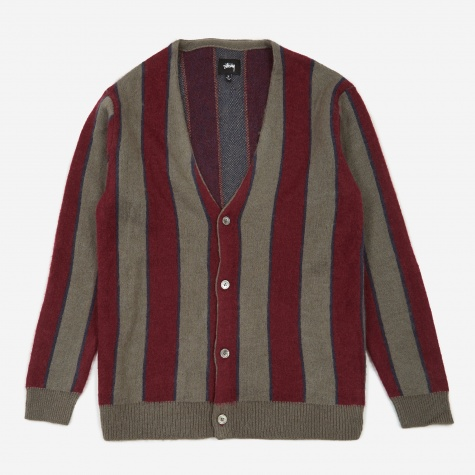 Basic Vertical Stripe Cardigan - Grey