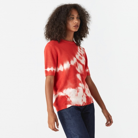 Gracie Tie Dye Crewneck Sweater - Red
