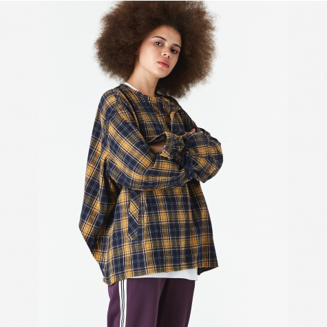 Cropped Tie Sleeve Shirt - Yellow/Check